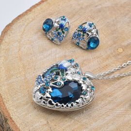 2 Piece Set -  Simulated Blue Sapphire and Blue Austrian Crystal Necklace (Size 20 with 1 inch Extender) and Earrings (with Push Back) in Silver Tone