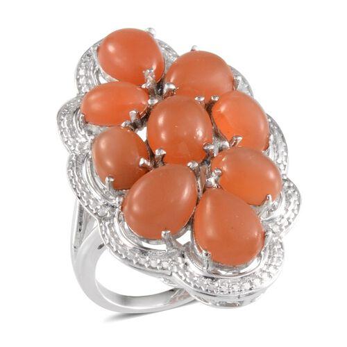 Mitiyagoda Peach Moonstone (Ovl 2.25 Ct) Ring in Platinum Overlay Sterling Silver 15.500 Ct.