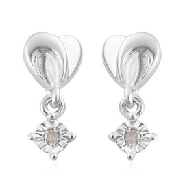 White Diamond Dangling Earrings (with Push Back) in Platinum Overlay Sterling Silver 0.04 Ct