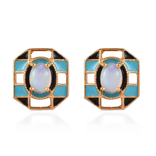 GP Ethiopian Welo Opal and Blue Sapphire Enamelled Stud Earrings (with Push Back) in 14K Gold Overla