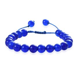 Blue Onyx Bracelet (Size 6.5-9.5 Adjustable) with Thread Shambhala Lock 71.10 Ct.