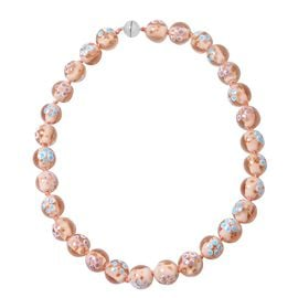 Millefiori Collection- Morganite Colour Murano Style  Glass Beads Necklace (Size 20) with Magnetic L