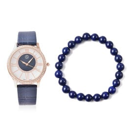 2 Piece Set - STRADA Japanese Movement White Austrian Crystal Studded Watch with Navy Blue Strap and
