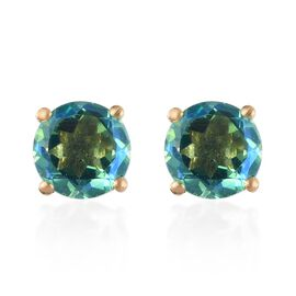 2.83 Ct Peacock Quartz Stud Solitaire Earrings in 14K Gold Plated Sterling Silver