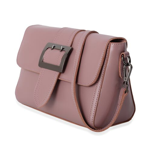 100% Genuine Leather Pink Colour Shoulder Bag with External Zipper Pocket and Removable Shoulder Strap (Size 23x17x10.5 Cm)