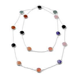 Close Out Deal- Rose Quartz, Jade, Black Agate, Cherry Quartz, Red Agate and Sodalite Station Neckla