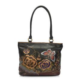 SUKRITI - 100% Genuine Leather Black Colour Butterfly Handpainted Shoulder Bag (Size 39x28.5x9.5 Cm)