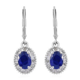 2 Carat Blue Spinel and Diamond Halo Drop Earrings in Sterling Silver With Lever Back