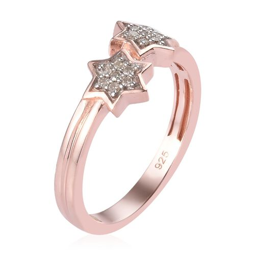 Diamond Twin Star Stacker Ring in Rose Gold Overlay Sterling Silver