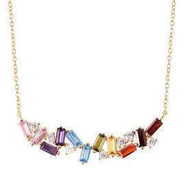 ELANZA Rainbow Simulated Diamond Collar Necklace in Gold Plated Silver 18 with 2 inch Extender