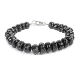 Boi Ploi Black Spinel (Rnd) Beads Bracelet (Size 7.5) in Rhodium Overlay Sterling Silver 200.000 Ct.