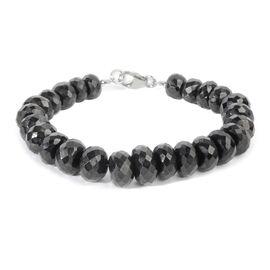 Boi Ploi Black Spinel (Rnd) Beads Bracelet (Size 7.5) in Rhodium Overlay Sterling Silver 200.000 Ct.