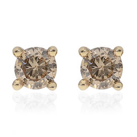 9K Yellow Gold SGL Certified Natural Champagne Diamond (I3) Stud Earrings (with Push Back) 0.25 Ct.