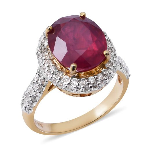 African Ruby (Ovl 6.75 Ct), Natural White Cambodian Zircon Ring in 14K Gold Overlay Sterling Silver