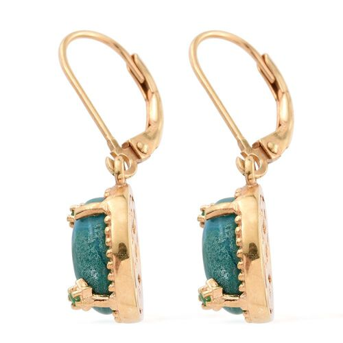 Natural Rare Opalina (Ovl), Kagem Zambian Emerald Lever Back Earrings in 14K Gold Overlay Sterling Silver 4.330 Ct.