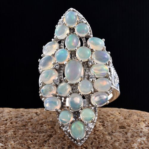GP Ethiopian Welo Opal (Ovl), Natural Cambodian Zircon and Kanchanaburi Blue Sapphire Cluster Ring in Platinum Overlay Sterling Silver 5.250 Ct. Silver wt 5.78 Gms.