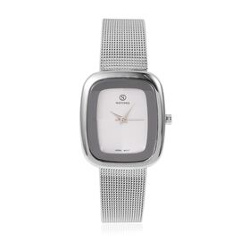 Designer Inspired-  STRADA Japanese Movement Double Sunshine Dial Water Resistant Watch in Silver Tone with Mesh Chain Strap