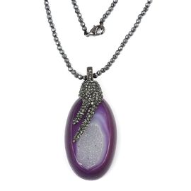 One Time Deal- Purple Drusy Agate Geode (Ovl 48x30 mm) with Hematite Necklace (Size 32)  in Silver Plated