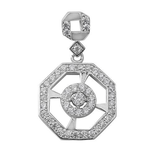 ELANZA Simulated Diamond (Rnd) Pendant in Rhodium Overlay Sterling Silver