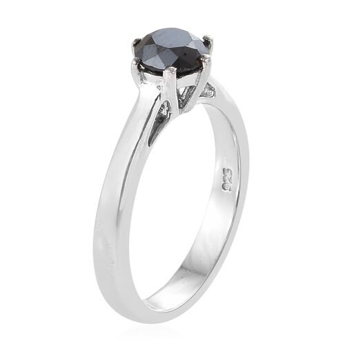Super Auction- Black Diamond (Rnd) Solitaire Ring in Platinum Overlay Sterling Silver 1.000 Ct.