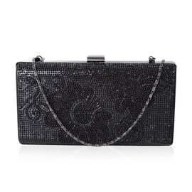 LUXE Black Austrian Crystal and Black Simulated Pearl Handbag with Adjustable Shoulder Strap (Size 21x4x11 Cm)
