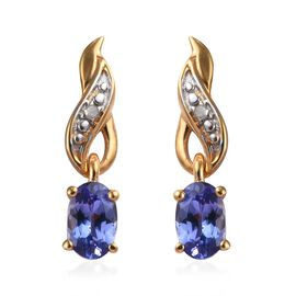Tanzanite and Diamond Earrings (with Push Back) in Platinum and 14K Gold Overlay Sterling Silver 0.9