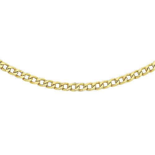 Hatton Garden Close Out 9K Yellow Gold Curb Necklace (Size 18) with Round Clasp