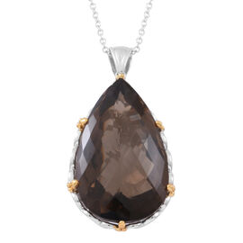 Limited Edition-Show Stopper Brazilian Smoky Quartz (Pear) Pendant With Chain (Size 30) in Rhodium and Gold Overlay Sterling Silver 140.000 Ct., Silver wt 21.00 Gms.