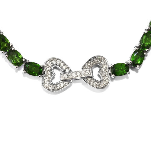 Signature Collection- Russian Diopside (Ovl), Natural Cambodian Zircon Necklace (Size 18) in Platinum Overlay Sterling Silver 32.500 Ct, Silver wt 24.40 Gms.