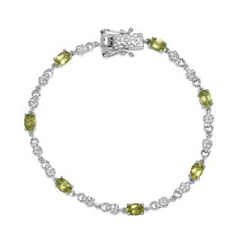 3.75 Ct Hebei Peridot Floral Bracelet in Platinum Plated 7.5 Inch