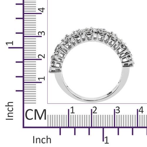 GP Diamond (Rnd and Bgt), Kanchanaburi Blue Sapphire Half Eternity Ring in Platinum Overlay Sterling Silver 0.520 Ct.