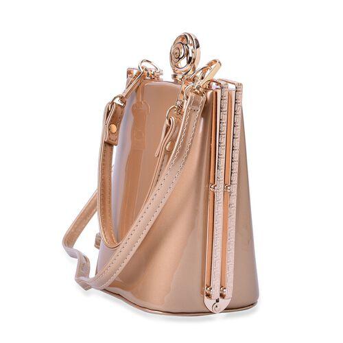 Champagne Colour Clutch Bag With Removable Shoulder Strap (Size 17x13x10 Cm)