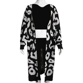Kris Ana Animal Print Longline Wool Cardigan One Size (8-18) - Black