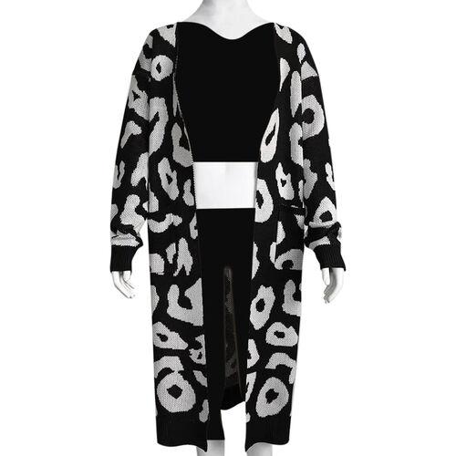 Kris Ana Animal Print Longline Wool Cardigan One Size (8-18) - Black