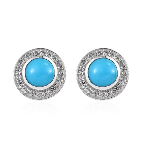 Arizona Sleeping Beauty Turquoise (Rnd), Natural Cambodian Zircon Stud Earrings (with Push Back) in