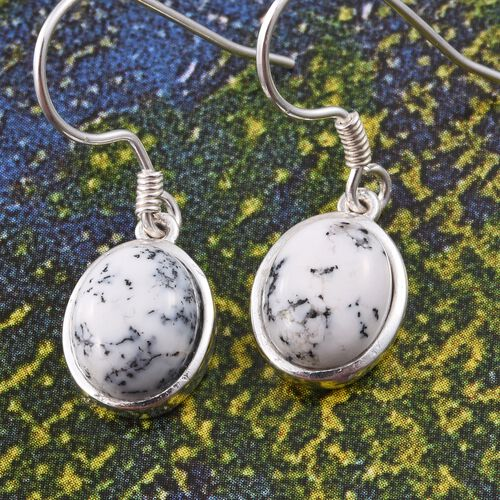 Norseman Dendritic Opal (Ovl) Hook Earrings in Sterling Silver 5.500 Ct.