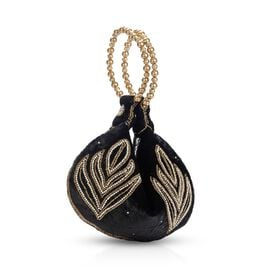 Weaved Embellishment Velvet Fortune Cookie bag (Size 16.51x24.13 Cm) - Black
