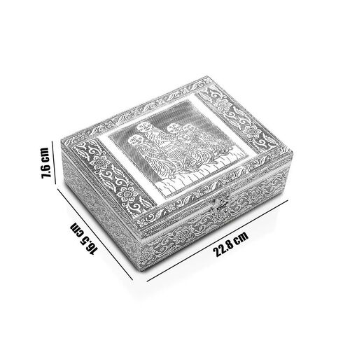 Meerkat Family Embossed Jewellry Box with Movable Tray in Silver Tone (22.8x16.5x7.6)