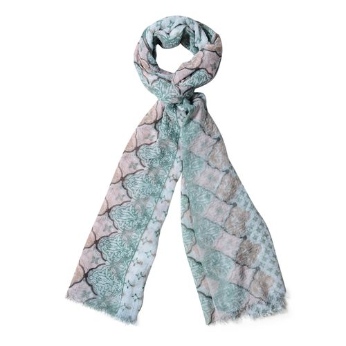New Season-Off White, Green and Brown Colour Small Flowers Pattern Scarf (Size 180x90 Cm)
