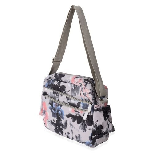 Water Resistant Grey and Multi Colour Flower Pattern Crossbody Bag with External Zipper Pockets (Size 28x23x9.5 Cm)