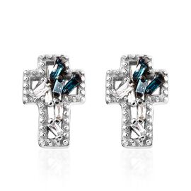 Blue and White Diamond Cross Earrings (with Push Back) in Platinum Overlay Sterling Silver 0.05 Ct.