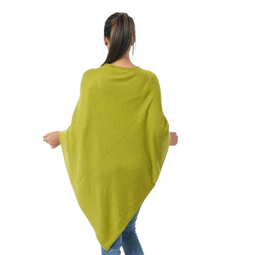 Limited Available - 100%  Cashmere Pashmina Wool Poncho - Olive Colour (Free Size)