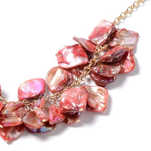 Boho Chic Inspired-Red Shell Necklace (Size 20) in Gold Plated