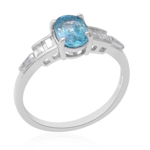 Ratanakiri Blue Zircon (Ovl 8x6mm), Natural Cambodian Zircon Ring in Rhodium Overlay Sterling Silver 2.70 Ct.