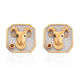 Red Garnet Capricorn Zodiac Stud Earrings (with Push Back) in Yellow Gold and Platinum Overlay Sterl