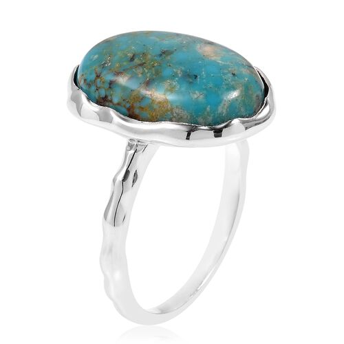 Anhui Turquoise (Ovl) Ring in Rhodium Plated Sterling Silver 8.500 Ct. Silver wt 5.00 Gms.
