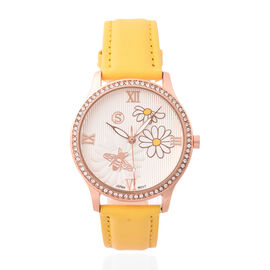 STRADA Japanese Movement White Austrian Crystal Studded Flower Bee Dial Water Resistant Watch with Y