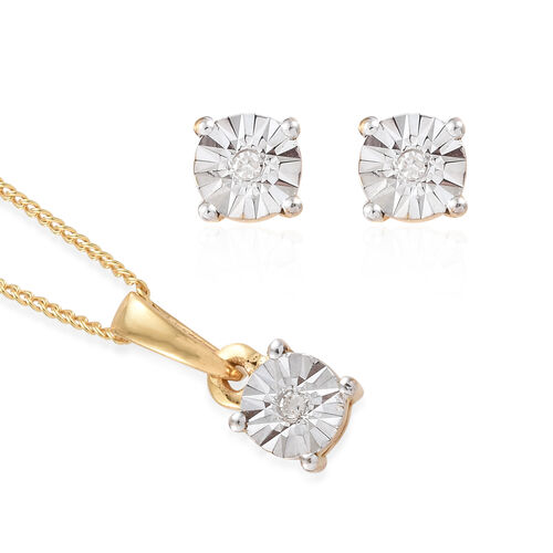 Diamond 14K Gold Overlay 14K Gold Overlay Sterling Silver 2 Pcs Earring and Pendant With Chain Set  0.030  Ct.