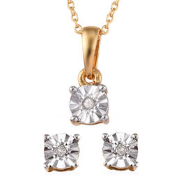 Diamond (Rnd) Stud Earrings (With Push Back) and Pendant With Chain Set in 14K Gold Overlay Sterling Silver