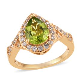 2.25 Ct Hebei Peridot and Zircon Halo Ring in Gold Plated Sterling Silver
